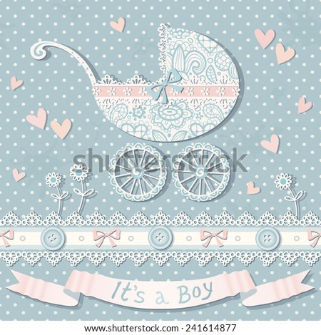 Vector polka dot background with baby carriage, laces, hearts, flowers and bows. Vintage baby shower card. Seamless pattern. - stock vector