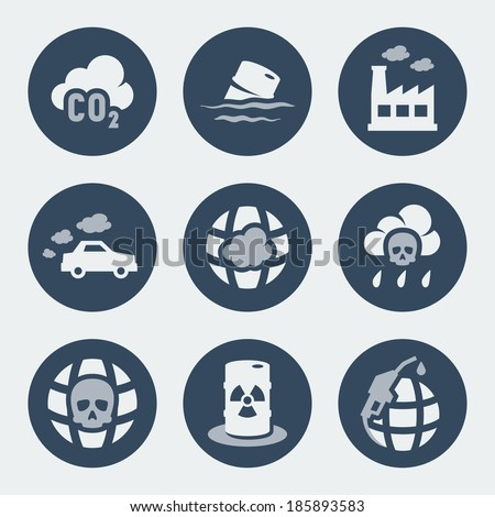 Vector pollution icons set - stock vector