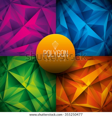 Vector polygon background design. Vector file is layered and CMYK color mode. Global colors. Easy editable. - stock vector