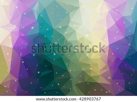 Vector Polygon Background With Random White Circles - stock vector