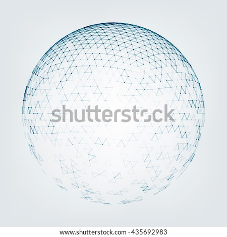 Vector polygonal background. Illustration of abstract background with low poly sphere. Abstract design for banner, poster, flyer. - stock vector