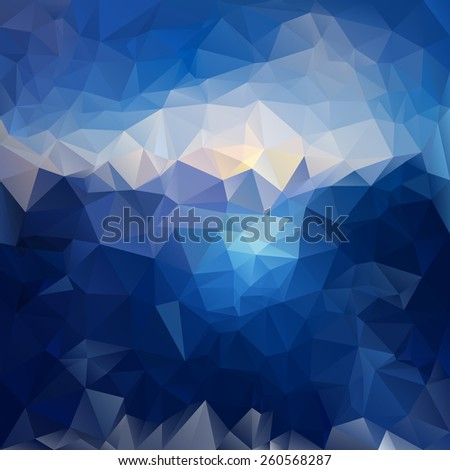 vector polygonal background with irregular tessellations pattern - triangular design in sea and sky colors - dark blue - stock vector