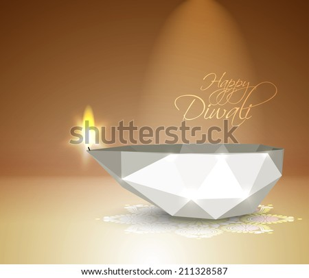 Vector Polygonal Diwali Diya (Oil Lamp). - stock vector