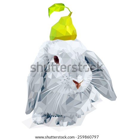 Vector polygonal Easter bunny and a pear - stock vector