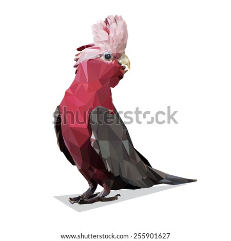 Vector Polygonal Galah Rose Breasted Cockatoo - stock vector