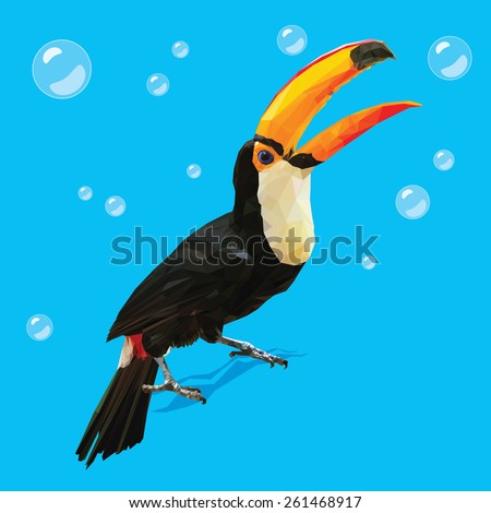 Vector Polygonal Toucan - stock vector