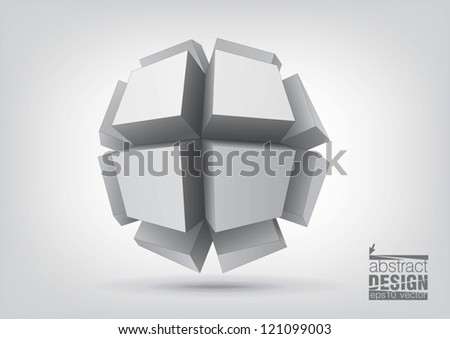 Vector polyhedron with rectangular extruded faces for graphic design. You can change colors - stock vector