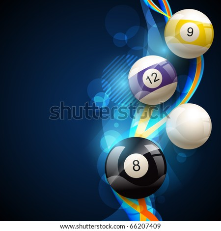vector pool balls on blue glowing background - stock vector