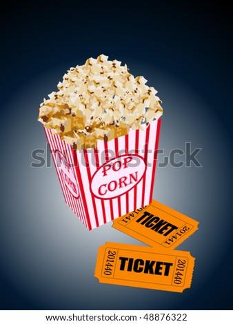 Vector popcorn with movie tickets - stock vector