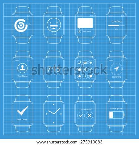 Vector Popular Smart Watch Icons Blueprint WIreframe  - stock vector