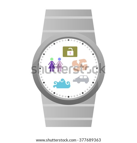 Vector Popular Smart Watch Icons isolated on white - stock vector