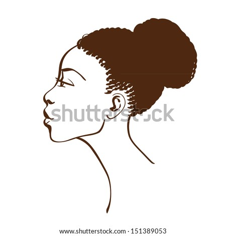 Vector portrait of beautiful African American woman in line art style. Side view - stock vector