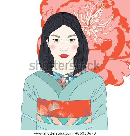 Vector portrait of beautiful Asian Japanese woman in traditional costume kimono. Peony flower background - stock vector
