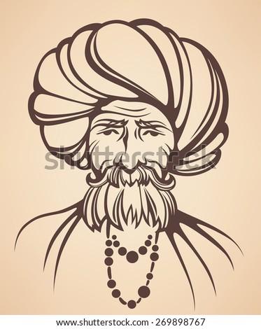 vector portrait of Indian man - stock vector