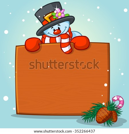 Vector portrait of snowman holding blank wooden sign with space for text isolated on white. - stock vector