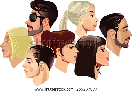 vector portraits of faces of men and women in profile - stock vector