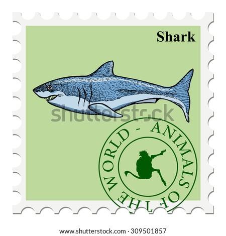 vector, post stamp shark - stock vector
