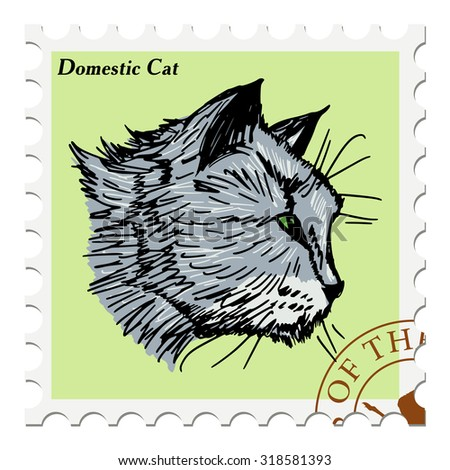 vector, post stamp with cat - stock vector