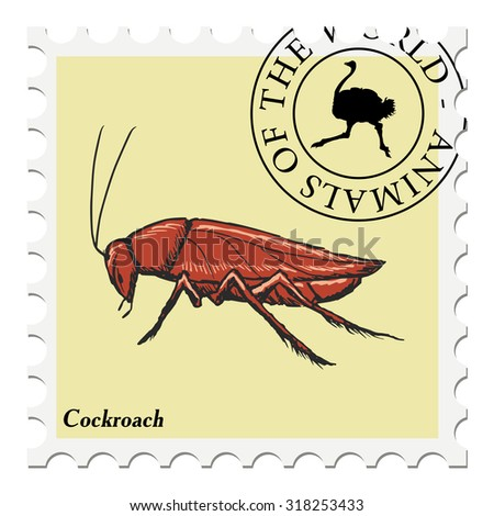 vector, post stamp with cockroach - stock vector