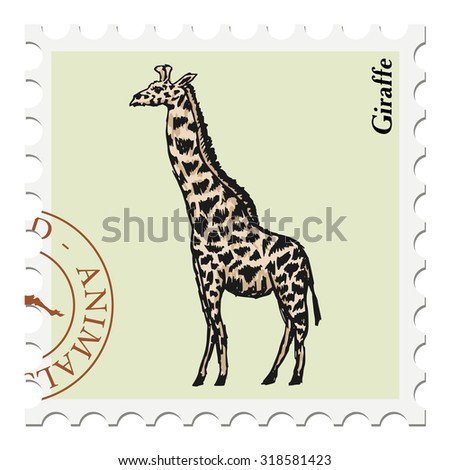 vector, post stamp with giraffe - stock vector