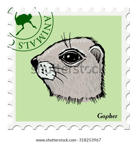 vector, post stamp with gopher - stock vector