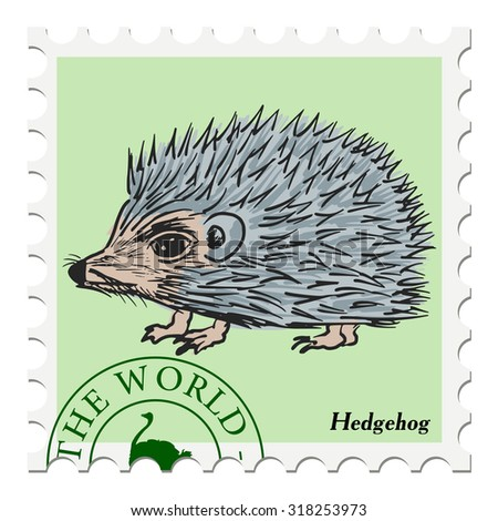 vector, post stamp with hedgehog - stock vector