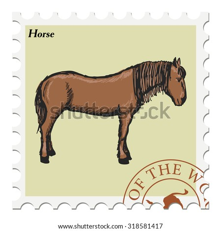 vector, post stamp with horse - stock vector