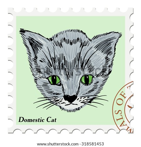 vector, post stamp with kitten - stock vector