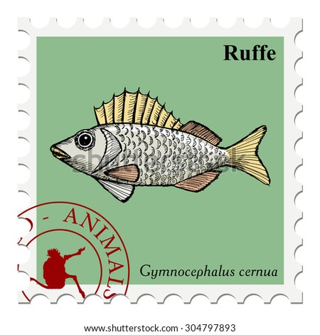 vector, post stamp with ruffe - stock vector