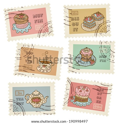 Vector postage stamps retro pastry theme, canceled, decorative set for scrapbooking - stock vector