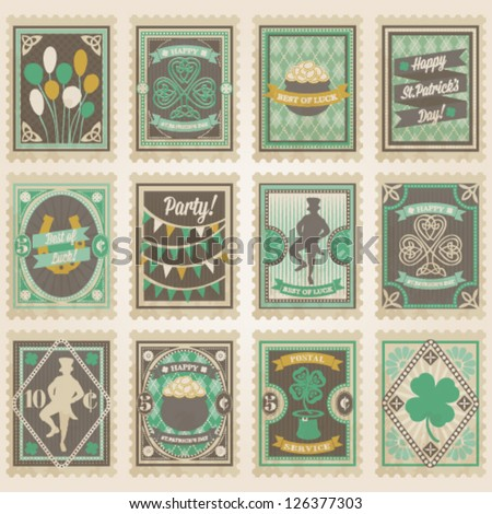Vector postage stamps set. St. Patrick's day collection - stock vector