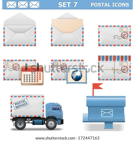 Vector Postal Icons Set 7 - stock vector