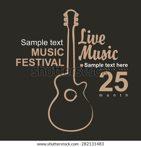 vector poster for a concert with a picture of an acoustic guitar - stock vector