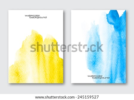 Vector poster template set. Hand drawn Watercolor stain background. Abstract background for card, brochure, banner, web design.  - stock vector