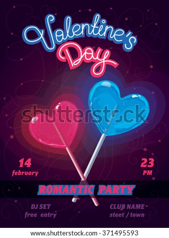 Vector poster wit Blue and Pink hearts - Valentine's day night party - stock vector