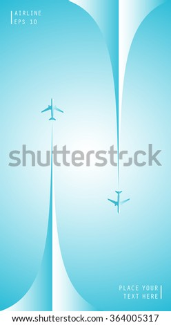 Vector poster with airplanes and airplane stream jets, minimalistic style, card for travel agencies, aviation companies. Realistic 3D airplane in the sky. - stock vector