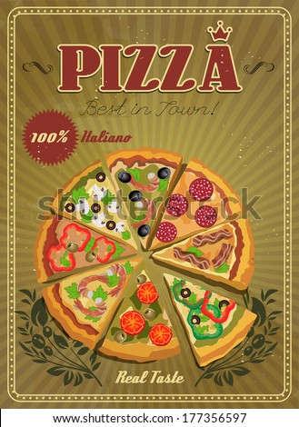 Vector poster with pizza and a slice of pizza. Italian food. Vintage style.  - stock vector