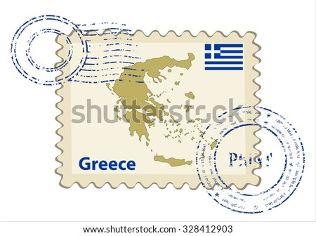 Vector postmark with map of Greece Including: flag of Greece. - stock vector