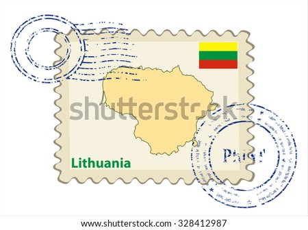 Vector postmark with map of Lithuania Including: flag of Lithuania. - stock vector