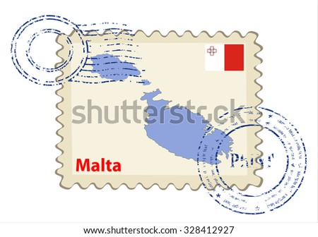 Vector postmark with map of Malta Including: flag of Malta. - stock vector