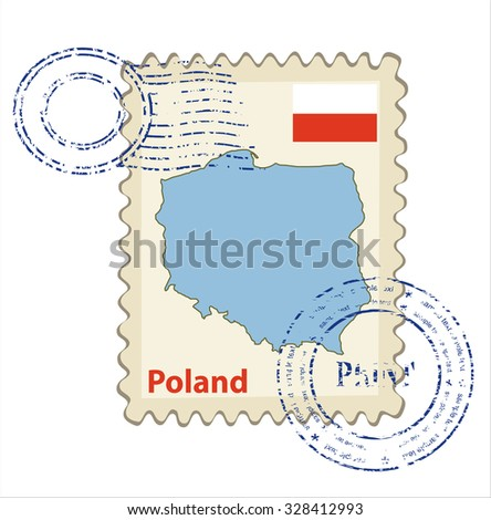 Vector postmark with map of Poland Including: flag of Poland. - stock vector