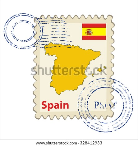 Vector postmark with map of Spain Including: flag of Spain. - stock vector