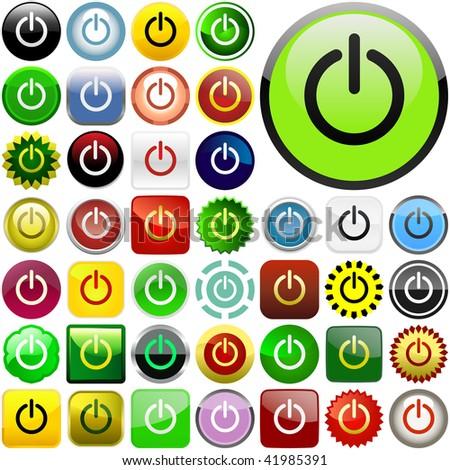 Vector power buttons for web - stock vector