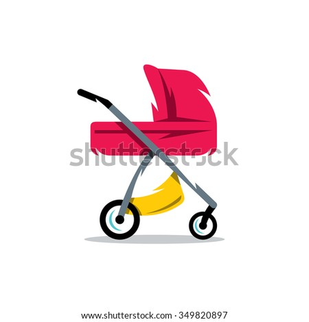 Vector Pram Baby Carriage Cartoon Illustration. Transport for Newborns Isolated on a White Background - stock vector