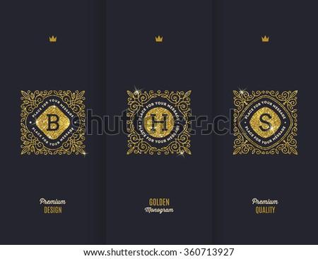 Vector premium design - glitter gold monograms - stock vector