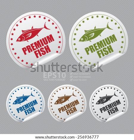 Vector : Premium Fish Sticker, Icon or Label  - stock vector