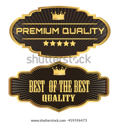 vector premium quality ,best of the best golden quality label - stock vector