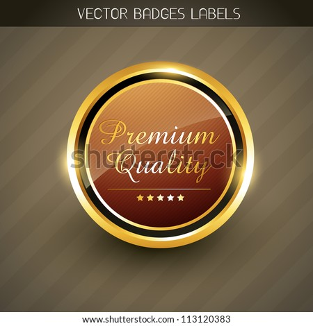 vector premium quality golden label - stock vector