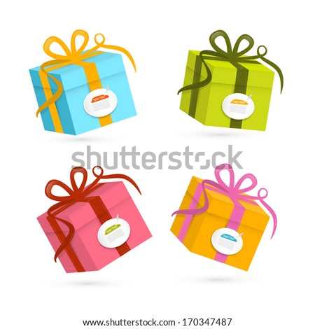 Vector Present Boxes Isolated on White Background  - stock vector