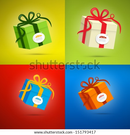 Vector Present Boxes on Colorful Background  - stock vector
